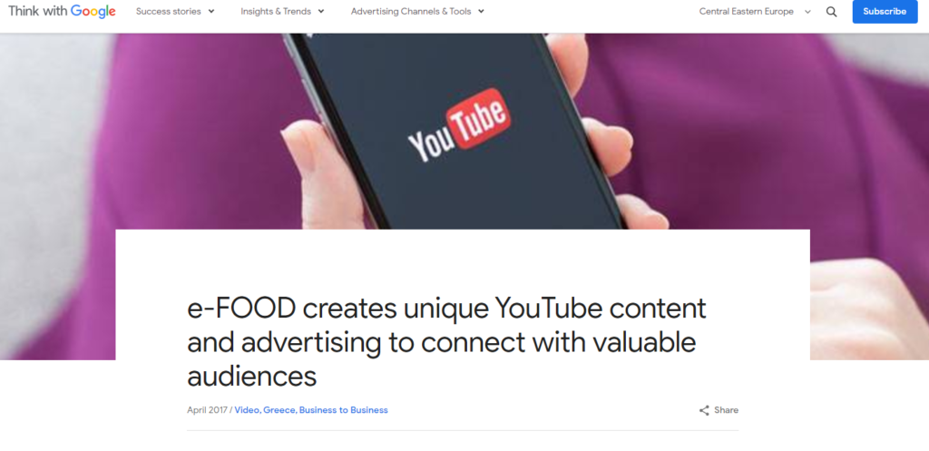 efood YouTube case study in Google Think